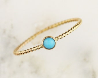 Solid 14k Gold Turquoise Twisted Rope Stacking Thin Bezel Ring
