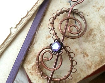 Celtic Shawl pin, Copper sweater pin or scarf pin in swirly design with purple cz, copper brooch