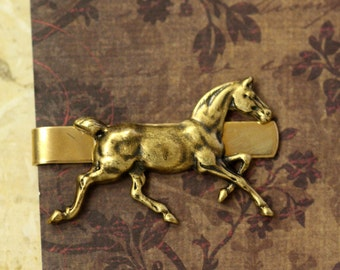 Running  Stallion Horse tie clip, Tie clip with initials ,Gold horse, Gifts for Men, Vintage tie clip, Handmade, personalized mens gift