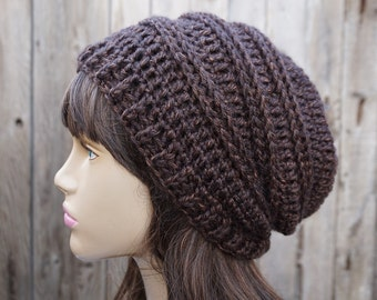 Crochet Hat - Slouchy  Hat -Brown - Winter Accessories Autumn Accessories Fall Fashion