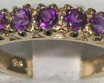 Natural Amethyst 9K Yellow Gold Genuine 7 Stone Half Eternity Band, Engagement Ring, Wedding Ring - English Antique Style -Customizable