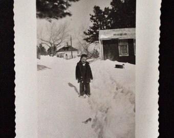 Original Antique Photograph Digging a Path