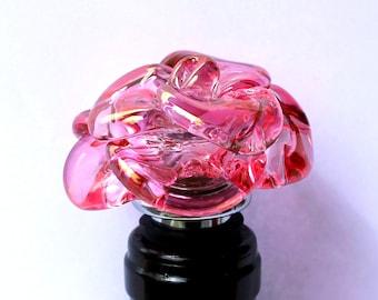 Pink Glass Rose Bottle Stopper, Lampwork Boro Hand Blown Flower, Borosilicate glass Stainless Steel