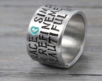 Grace Ring, Inspiration Ring, Personalized Ring, Inspiration Quote Ring,Heart Ring,  Hand Stamped Ring, Personalized Jewelry, Quote Ring