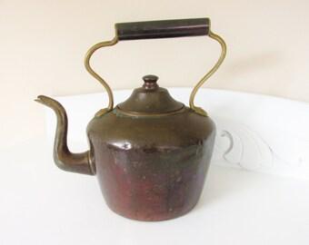 Antique Copper Kettle Dovetail 1800s Large One Gallon