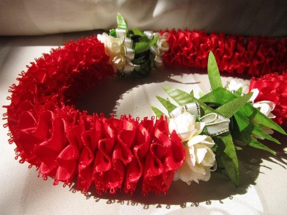 Hawaiian Ribbon Lei Red KuKui Nut Carnation Lei