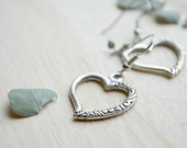 Silver Heart Earrings / Boho Heart Earrings / Cut Out Hearts / Valentines Day Gifts Ready to Ship J149-2