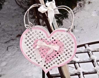 Heart Wall Pocket, Door Hanger, Pink Heart, Rustic Metal Basket, Open Weave Heart, Cottage, Rustic, Tin Heart Decor, LOVE Door Hanger, Casa