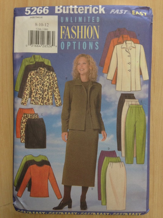 Butterick 90s Sewing Pattern 5266 Misses/Misses Petite Jacket, Top, Skirt and Pants Size 8-12