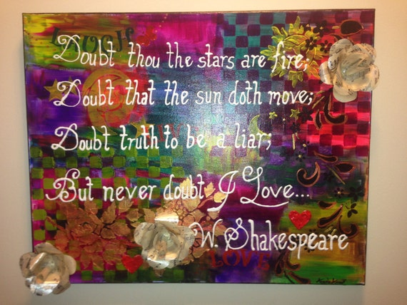 Mixed Media Original Canvas Painting Shakespeare Quote