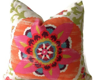 Braemore Silsila Suzani Pillow Cover in Lawn, Indoor/Outdoor Pillows, Decorative Pillows, Accent Pillow
