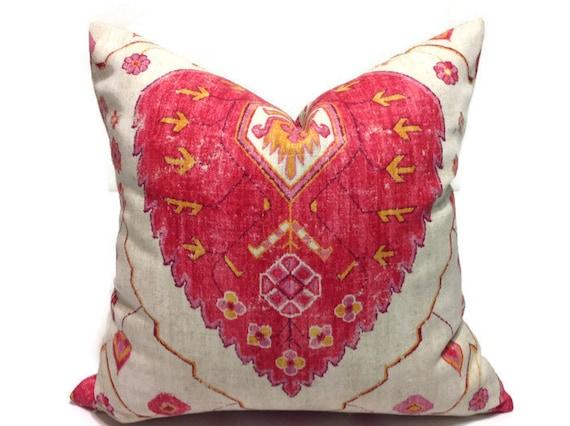 Pillows, Decorative Pillows, Orange, Pink, Pillows Designer Fabric Ikat Pillows
