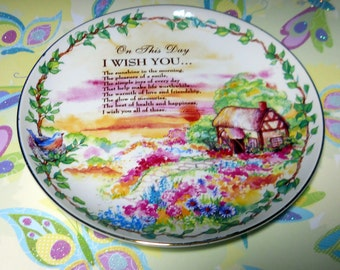 On This Day Plate, Housewares, Poetry Plate, Cottage Plate,  Kitsch, Decorative Plate, Vintage Home Decor, Kathleen Leasure, Fromglentoglen