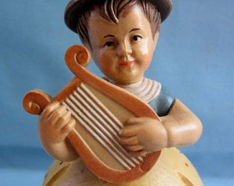 Anri Music Box Reuge Vintage Edelweiss Girl w. Lyre