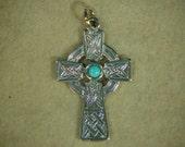 Large Celtic Cross solid Argentium® Sterling Silver Pendant  w\Center Stone *8100016
