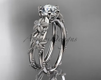14kt white gold diamond leaf and vine, flower wedding ring,engagement ring  ADLR66
