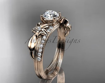 14kt  rose gold diamond leaf and vine wedding ring,engagement ring ADLR331
