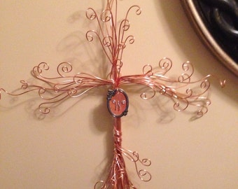 Cross hanging wall decor copper wire