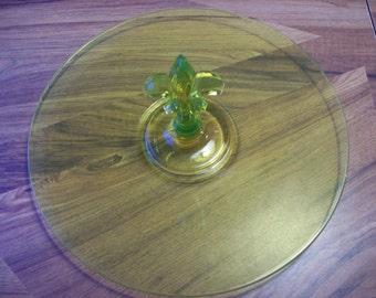 Vaseline Yellow Glass Platter New Orleans Saints Dessert Plate Pastry Plate