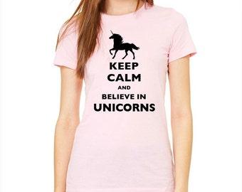 Keep Calm and Believe in Unicorns design2 T-Shirt - Soft Cotton T Shirts for Women, Men/Unisex, Kids