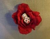 Red Rose Sugar Skull Hair Clip / Fascinator, Creepy Beautiful