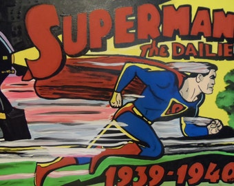 Superman The Dailies II 12x16 Acrylic on Canvas Classic Comic Book Super Heroe Dailies