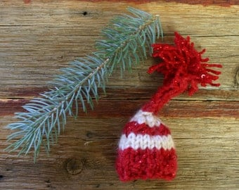 One Red White Miniature Elf Hat- Christmas Decoration- Doll Hat- Mini Hand Knitted Cap- Sequined- Candy Cane- Tiny Christmas Hat