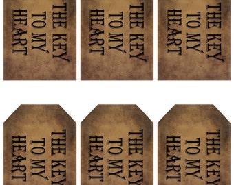 grungy tag set - primitive - the key to my heart  - digital PDF & jpeg - KHGT01