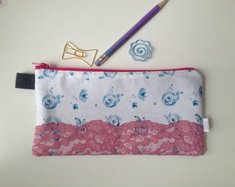 Blue Floral with Pink Lace Pencil Case (handmade philosophy's pattern)