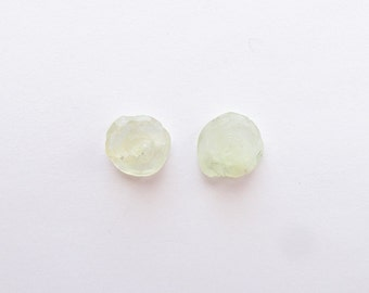 Natural Green Prehnite, Unheated, Carved Flower, Lot (2) of 27.13 carats