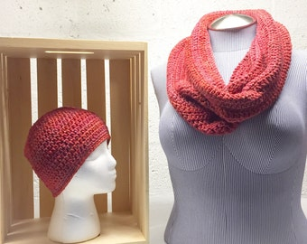 Women's Crochet Set Red Sparkly Beanie and infinity Cowl