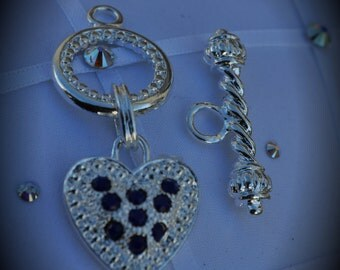 Genuine Large Silver Plated Swarovski Crystal Heart Toggle Clasp - Navy Blue