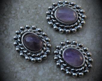 Purple Amethyst Genuine Stone Silver Crystal 2 Hole Oval Sliders - 7339