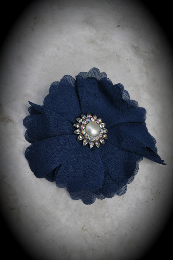 Silver Flower Pendant with Crystals Ab White Pearl And Blue Fabric