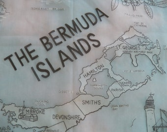 Rare 1960 Turquoise Souvenir Scarf of the Bermuda Islands