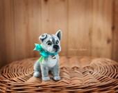 Miniature sculpture needle felted dog - artist puppy