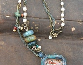 OOAK Artsy Boho Boro Bezel multi chain Necklace