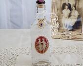 Antique Decorative Bottle ,Victorian  Vintage Style, Cameo, Cottage Chic, Glass Bottle