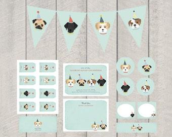 Dog Theme Birthday Party Decor Set - Printable