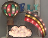 "24"" Large Metal Cloud or Rainbow Marquee…. Baby Family Room Boys Room Gift Birthday Wedding"