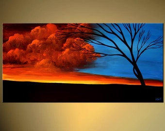 """Blue Red Landscape Abstract Acrylic Tree Painting Red Clouds by Osnat - MADE-TO-ORDER - 60""""x24"""""""