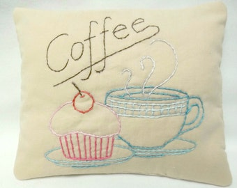 Coffee Cupcake Embroidered Mini Pillow. Kitchen - Baking Shelf Sitter