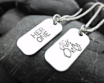Her One - His Only - Couple's MINI Dog Tag Necklaces - Matching Couple Necklaces - Masculine - Feminine - Wedding - Anniversary