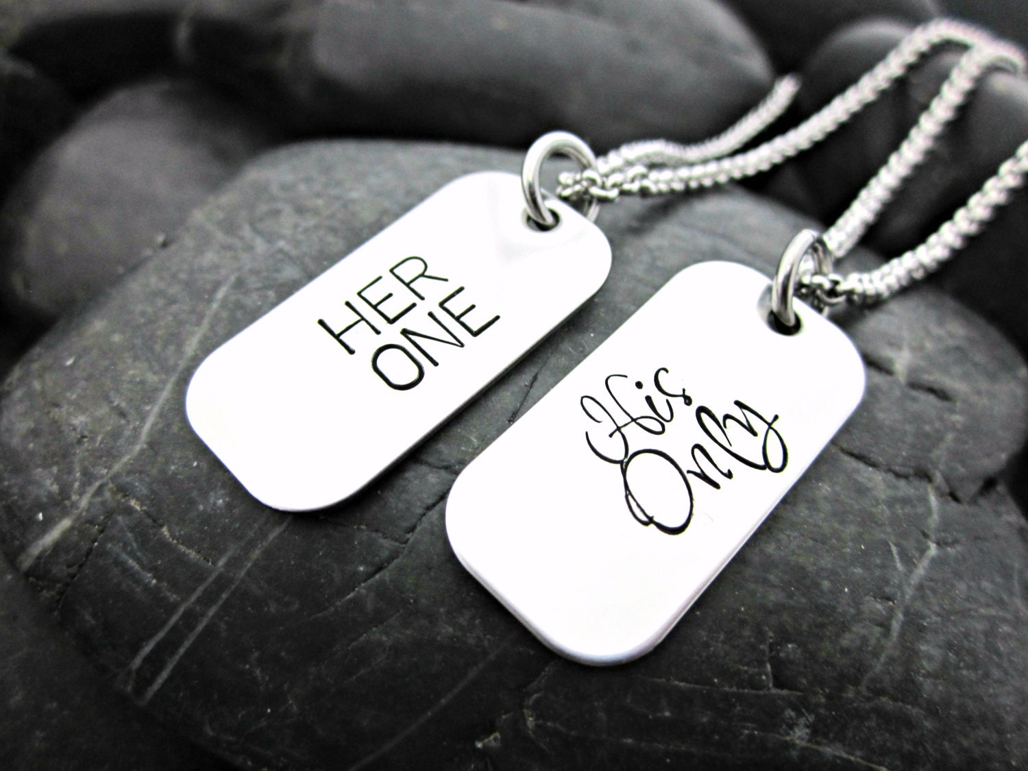Her One His Only Couple's MINI Dog Tag Necklaces