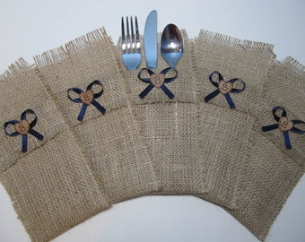 Rustic Burlap Silverware Holders - Set of 5 - Personalized for your Country Wedding Shown with Navy Blue Ribbon