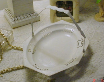 Cutwork Tray Painted Vintage Scalloped Fold Down Handle Shabby Chic