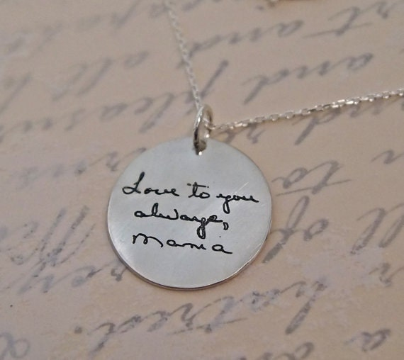 handwritten necklace personalized jewelry silver by