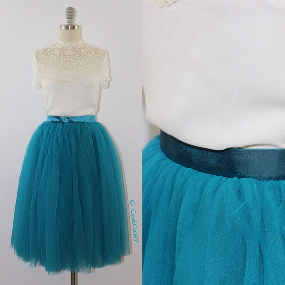 colette soft tulle skirt in baby blue or teal layered by