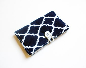 Navy Lattice Fabric Business Card Holder, with White Grey Stripes - Credit Card Holder, Cloth Card Holder, Gift Card Holder