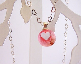 White Heart on Pink Background Glass Gem Pendant